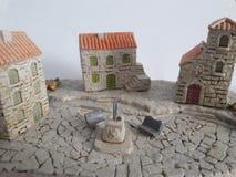 Model van de kust het oude stad Stock Foto's