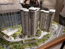 Model van Flatgebouwen in Rockwell, Makati-Stad Filippijnen royalty-vrije stock fotografie