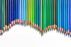 Model van groene en blauwe potloden Royalty-vrije Stock Foto's