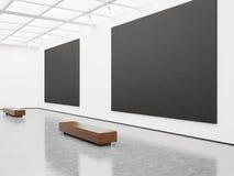Model van leeg binnenland met zwart canvas 3d Stock Afbeelding