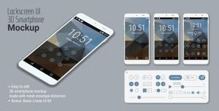 Model van Lockscreen het mobiele UI smartphone Stock Afbeelding