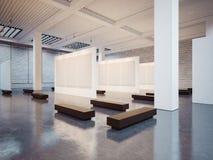 Model van open binnenland met bruine bank 3d Stock Afbeeldingen