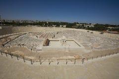 Model van oud Jeruzalem, nieuwe stad op achtergrond Stock Afbeelding
