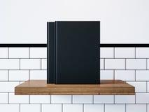 Model van twee lege zwarte boeken het 3d teruggeven Stock Afbeelding