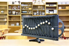Model of vibration waves on desk. In empty physics school class Stock Image