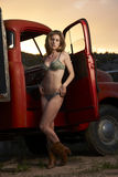 Model On Vintage Truck Stock Photography