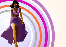model violet för klänning Fotografering för Bildbyråer