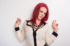 Model with Vivid Red Hair Royalty Free Stock Photos