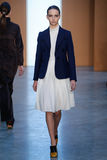 Model Waleska Gorczevski walk the runway at the Derek Lam Fashion Show during MBFW Fall 2015 Royalty Free Stock Images
