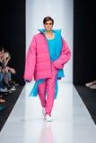 Model walk runway for DESIGNER NIKOLAY LEGENDA catwalk at Fall-Winter 2017-2018 at Mercedes-Benz Fashion Week Russia. Men`s fashio Royalty Free Stock Photos