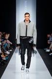 Model walk runway for DESIGNER NIKOLAY LEGENDA catwalk at Fall-Winter 2017-2018 at Mercedes-Benz Fashion Week Russia. Men`s fashio Stock Image