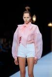 Model walk runway for DIMANEU catwalk at Spring-summer 2017 Mercedes- Benz Fashion Week Russia. Royalty Free Stock Images