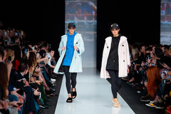 Model walk runway for EKATERINA AKKHUZINA for EKATERINA FURS catwalk at Fall-Winter 2017-2018 at Mercedes-Benz Fashion Week Russia Royalty Free Stock Photography