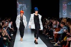 Model walk runway for EKATERINA AKKHUZINA for EKATERINA FURS catwalk at Fall-Winter 2017-2018 at Mercedes-Benz Fashion Week Russia Royalty Free Stock Images
