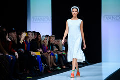 Model walk runway for IVANOVA catwalk at Spring-summer 2017 Mercedes- Benz Fashion Week Russia. MOSCOW, RUSSIA - OCTOBER 13, 2016: Model walk runway for IVANOVA Royalty Free Stock Image
