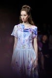 Model walk runway for Olga Kunitsyna catwalk at Spring-summer 2017 Moscow Fashion Week. MOSCOW, RUSSIA - OCTOBER 19, 2016: Model walk runway for Olga Kunitsyna Stock Photography