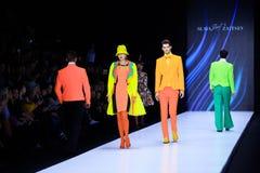 Model walk runway for Slava Zaitsev catwalk at Spring-summer 2017 Mercedes- Benz Fashion Week Russia. MOSCOW, RUSSIA - OCTOBER 13, 2016: Model walk runway for Royalty Free Stock Photo