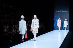 Model walk runway for Slava Zaitsev catwalk at Spring-summer 2017 Mercedes- Benz Fashion Week Russia. MOSCOW, RUSSIA - OCTOBER 13, 2016: Model walk runway for Royalty Free Stock Images
