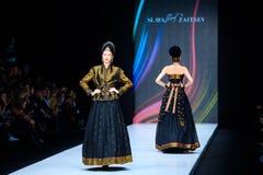 Model walk runway for Slava Zaitsev catwalk at Spring-summer 2017 Mercedes- Benz Fashion Week Russia. MOSCOW, RUSSIA - OCTOBER 13, 2016: Model walk runway for Stock Image