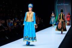 Model walk runway for Slava Zaitsev catwalk at Spring-summer 2017 Mercedes- Benz Fashion Week Russia. MOSCOW, RUSSIA - OCTOBER 13, 2016: Model walk runway for Stock Images
