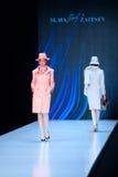 Model walk runway for Slava Zaitsev catwalk at Spring-summer 2017 Mercedes- Benz Fashion Week Russia. MOSCOW, RUSSIA - OCTOBER 13, 2016: Model walk runway for Royalty Free Stock Image