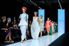 Model walk runway for Slava Zaitsev catwalk at Spring-summer 2017 Mercedes- Benz Fashion Week Russia. MOSCOW, RUSSIA - OCTOBER 13, 2016: Model walk runway for Stock Photo