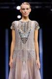 Model walk runway for Valentin Yudaskin catwalk at Spring-summer 2017 Moscow Fashion Week. Stock Photos