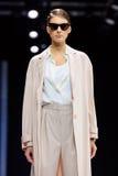 Model walk runway for Valentin Yudaskin catwalk at Spring-summer 2017 Moscow Fashion Week. Royalty Free Stock Photos