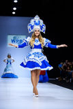 Model walk runway for WORLD RUSSIAN BEAUTY catwalk at Spring-summer 2017 Moscow Fashion Week. Clothes in national ethnic style. Royalty Free Stock Photo
