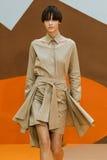 A model walks the runway during the Aalto designed by Tuomas Merikoski show Stock Photos
