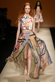 A model walks the runway during the Alberta Ferretti show as part of Milan Fashion Week Royalty Free Stock Photos