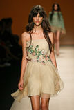 A model walks the runway during the Alberta Ferretti show as part of Milan Fashion Week Stock Photo