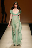 A model walks the runway during the Alberta Ferretti show as part of Milan Fashion Week Stock Images