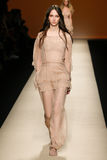 A model walks the runway during the Alberta Ferretti show as a part of Milan Fashion Week Royalty Free Stock Photography