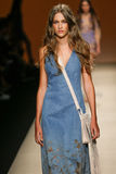 A model walks the runway during the Alberta Ferretti show as a part of Milan Fashion Week Royalty Free Stock Photos