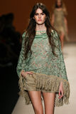 A model walks the runway during the Alberta Ferretti show as a part of Milan Fashion Week Stock Images