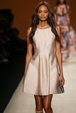 A model walks the runway during the Alberta Ferretti show as a part of Milan Fashion Week Royalty Free Stock Photo