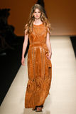 A model walks the runway during the Alberta Ferretti show as a part of Milan Fashion Week Royalty Free Stock Images