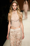 A model walks the runway during the Alberta Ferretti show as a part of Milan Fashion Week Stock Photo