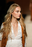 A model walks the runway during the Alberta Ferretti show as a part of Milan Fashion Week Stock Photography