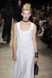 A model walks the runway during the Andrew GN show as part of the Paris Fashion Week Stock Image