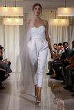 A model walks the runway during the Angel Sanchez Bridal Fall/Winter 2016 Runway Show Royalty Free Stock Image