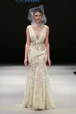 A model walks runway at Badgley Mischka fashion show during Fall 2015 Bridal Collection Stock Image