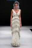 A model walks runway at Badgley Mischka fashion show during Fall 2015 Bridal Collection Royalty Free Stock Images