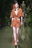 A model walks the runway during the Balmain show as part of the Paris Fashion Week Royalty Free Stock Photos