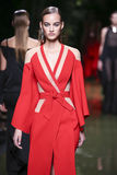 A model walks the runway during the Balmain show as part of the Paris Fashion Week royalty free stock images