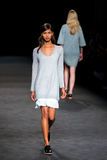 A model walks the runway at the 080 Barcelona Fashion Week Royalty Free Stock Images