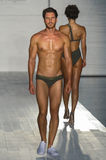 A model walks the runway at the Barraca Chick fashion show during MBFW Swim 2015 Royalty Free Stock Photography