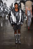 A model walks the runway at The Blonds fashion show Stock Photos