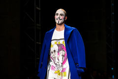 A model walks the runway for the Brain and Beast collection at the 080 Barcelona Fashion Week. BARCELONA - FEB 2: A model walks the runway for the Brain and Royalty Free Stock Photography
